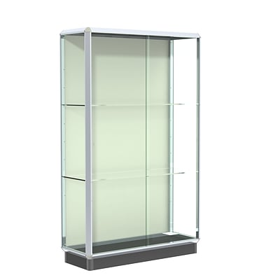 Waddell Prominence 48W x 78H x 18D Floor Case, Plaque Back, Chrome Finish