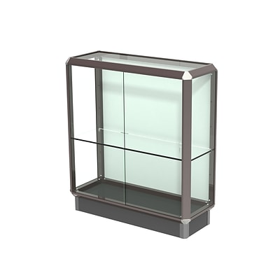 Waddell Prominence 36W x 40H x 14D Counter Case, Plaque Back, Dk. Bronze Finish