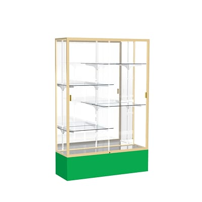 Waddell Spirit 48W x 72H x 16D Floor Case, Mirror Back, Champagne Finish, Kelly Green Base