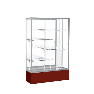 Waddell Spirit 48W x 72H x 16D Floor Case, Mirror Back, Satin Finish, Maroon Base