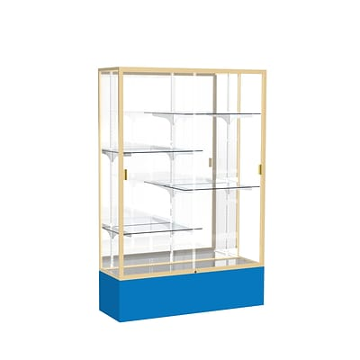 Waddell Spirit 48W x 72H x 16D Floor Case, Mirror Back, Champagne Finish, Royal Blue Base