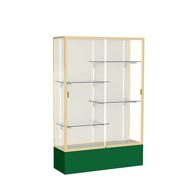 Waddell Spirit 48W x 72H x 16D Floor Case, Plaque Back, Champagne Finish, Forest Green Base