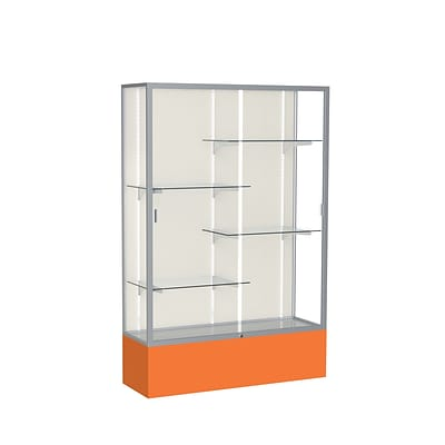 Waddell Spirit 48W x 72H x 16D Floor Case, Plaque Back, Satin Finish, Orange Base