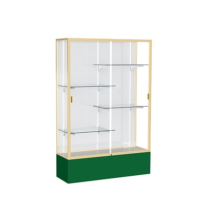 Waddell Spirit 48W x 72H x 16D Floor Case, White Back, Champagne Finish, Forest Green Base