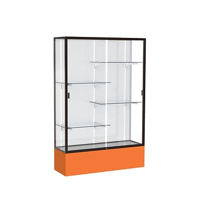 Waddell Spirit 48W x 72H x 16D Floor Case, White Back, Dk. Bronze Finish, Orange Base