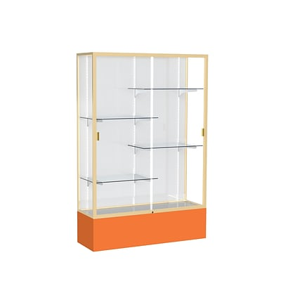 Waddell Spirit 48W x 72H x 16D Floor Case, White Back, Champagne Finish, Orange Base