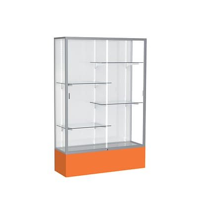 Waddell Spirit 48W x 72H x 16D Floor Case, White Back, Satin Finish, Orange Base
