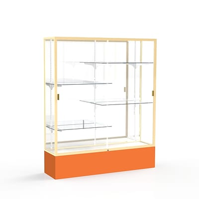 Waddell Spirit 60W x 72H x 16D Floor Case, Mirror Back, Champagne Finish, Orange Base