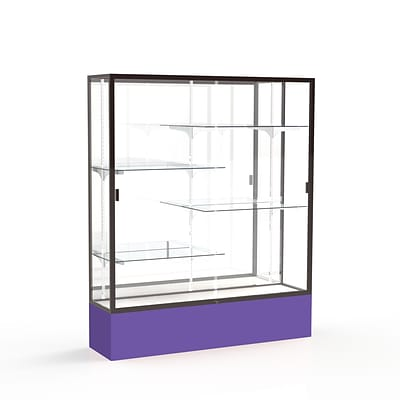 Waddell Spirit 60W x 72H x 16D Floor Case, Mirror Back, Dk. Bronze Finish, Purple Base