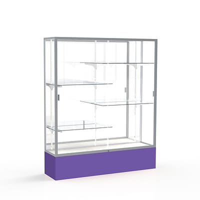 Waddell Spirit 60W x 72H x 16D Floor Case, Mirror Back, Satin Finish, Purple Base