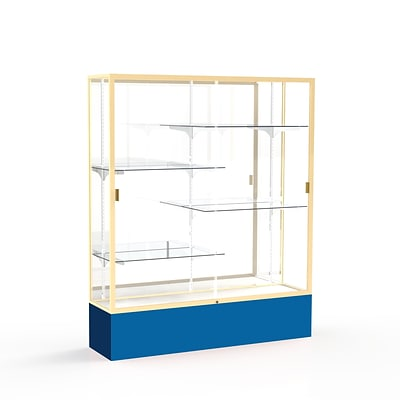 Waddell Spirit 60W x 72H x 16D Floor Case, Mirror Back, Champagne Finish, Royal Blue Base