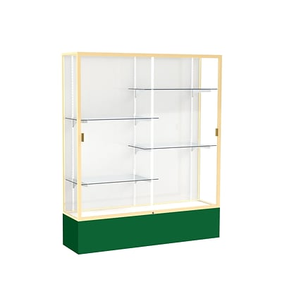 Waddell Spirit 60W x 72H x 16D Floor Case, White Back, Champagne Finish, Forest Green Base