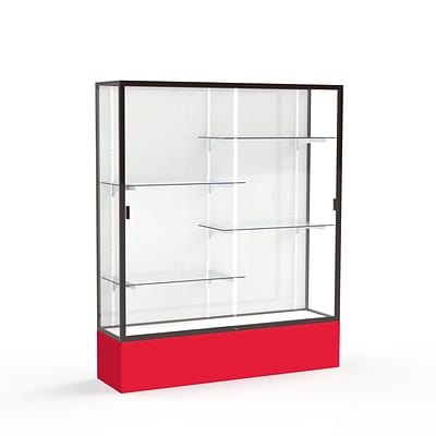 Waddell Spirit 60W x 72H x 16D Floor Case, White Back, Dk. Bronze Finish, Red Base