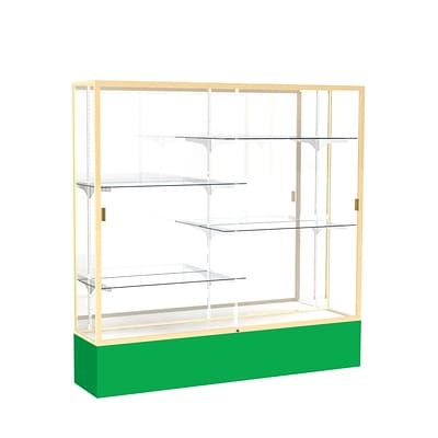 Waddell Spirit 72W x 72H x 16D Floor Case, Mirror Back, Champagne Finish, Kelly Green Base