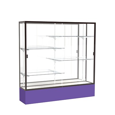 Waddell Spirit 72W x 72H x 16D Floor Case, Mirror Back, Dk. Bronze Finish, Purple Base