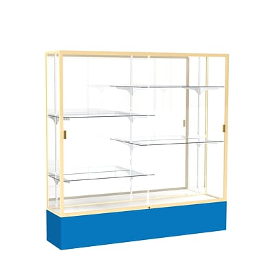 Waddell Spirit 72W x 72H x 16D Floor Case, Mirror Back, Champagne Finish, Royal Blue Base
