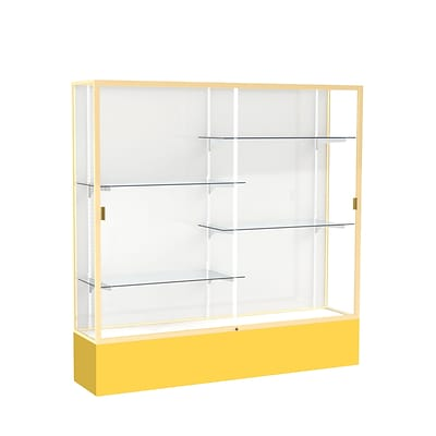 Waddell Spirit 72W x 72H x 16D Floor Case, White Back, Champagne Finish, Golden Rod Base