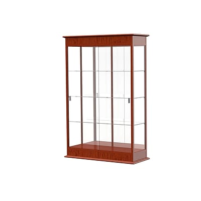 Waddell Varsity 48W x 77H x 18D Lighted Floor Case, Sliding Doors, Mirror Back, Cherry Oak Finish