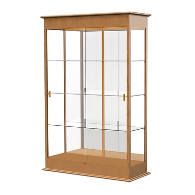 Waddell Varsity 48W x 77H x 18D Lighted Floor Case, Sliding Doors, Mirror Back, Carmel Oak Finish