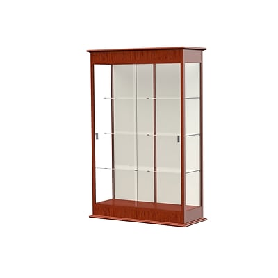 Waddell Varsity 48W x 77H x 18D Lighted Floor Case, Sliding Doors, Plaque Back, Cherry Oak Finish