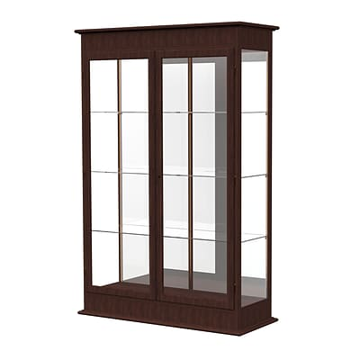 Waddell Varsity 48W x 77H x 18D Lighted Floor Case, Hinged Doors, Mirror Back, Espresso Finish