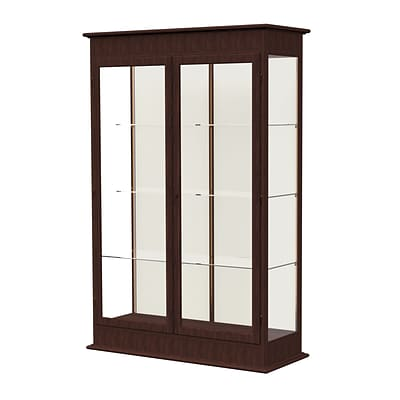 Waddell Varsity 48W x 77H x 18D Lighted Floor Case, Hinged Doors, Plaque Back, Espresso Finish