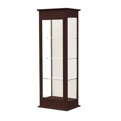 Waddell Varsity 25W x 77H x 18D Lighted Tower Case, Hinged Door, Plaque Back, Espresso Finish
