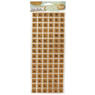 JAM Paper® Self-Adhesive Alphabet Letter Stickers, Cork Board Scrabble Design, 96/Pack (132828773)