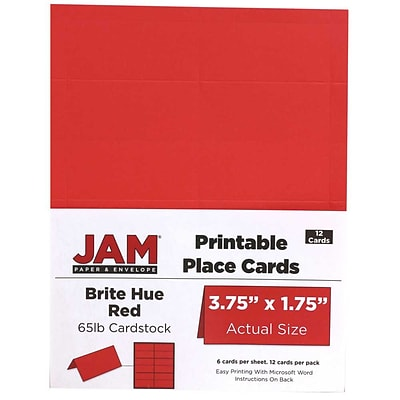 JAM Paper® Printable Place Cards, 1.75 x 3.75, Brite Hue Red Placecards, 12/pack (225928562)