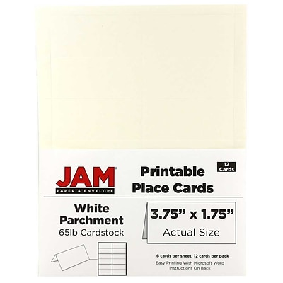 JAM Paper® Printable Place Cards, 1.75 x 3.75, White Parchment Placecards, 12/pack (225928565)