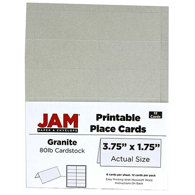 JAM Paper® Printable Place Cards, 1.75 x 3.75, Granite Grey Placecards, 12/pack (225928566)