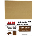 JAM Paper® Printable Place Cards, 1.75 x 3.75, Brown Kraft Paper Bag Placecards, 12/pack (225928567)