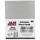 JAM Paper® Printable Place Cards, 1.75 x 3.75, Stardream Metallic Silver Placecards, 12/pack (225928