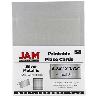 JAM Paper® Printable Place Cards, 1.75 x 3.75, Stardream Metallic Silver Placecards, 12/pack (225928570)