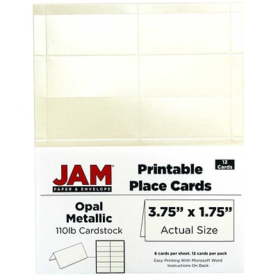 JAM Paper® Printable Place Cards, 1.75 x 3.75, Stardream Metallic Opal Placecards, 12/pack (225928572)