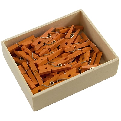 JAM Paper® Wood Clothing Pin Clips, Small 7/8, Orange, 50/pack (230729133)