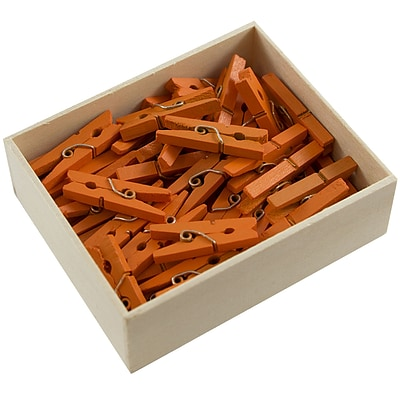 JAM Paper® Wood Clip Clothespins, Medium 1 1/8 Inch, Orange Clothes Pins, 50/Pack (230729145)