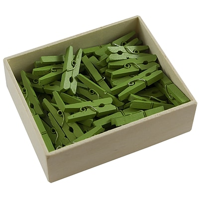 JAM Paper® Wood Clothing Pin Clips, Medium 1 1/8, Green, 50/pack (230729147)