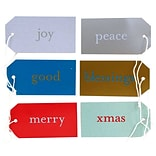 JAM Paper® Gift Tags, 3 1/16 x 1 5/8, Assorted Christmas Expressions, 6/pack (297528738)