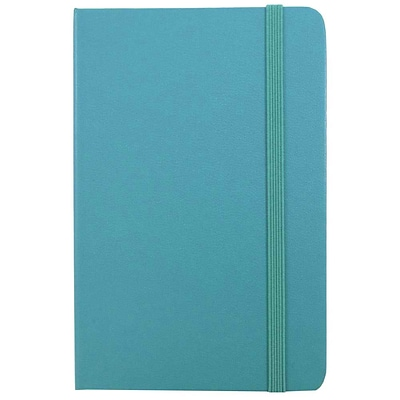 JAM Paper® Hardcover Lined Notebook With Elastic Closure, Travel Size, 4 x 6 Journal, Caribbean Blue, 1/pk (340528850)