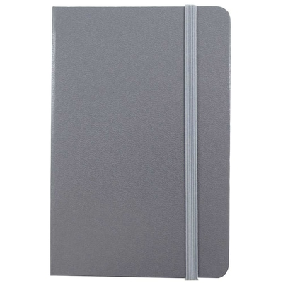 JAM Paper® Hardcover Lined Notebook with Elastic Closure, Large, 5 7/8 x 8 1/2 Journal, Grey, Sold Individually (340528858)