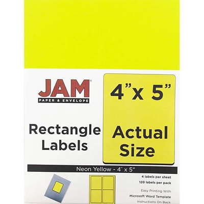 JAM Paper® Shipping Address Labels, Extra Large, 4 x 5, Neon Yellow, 120/Pack (354329153)