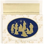 JAM Paper® Christmas Holiday Cards Set, Gold Nativity, 16/pack (526860700)