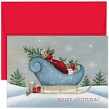 JAM Paper® Christmas Holiday Cards Set, Santas Sleigh, 18/pack (526870200)