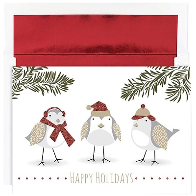 JAM Paper® Christmas Holiday Cards Set, Feathered Friends, 16/pack (526871700)