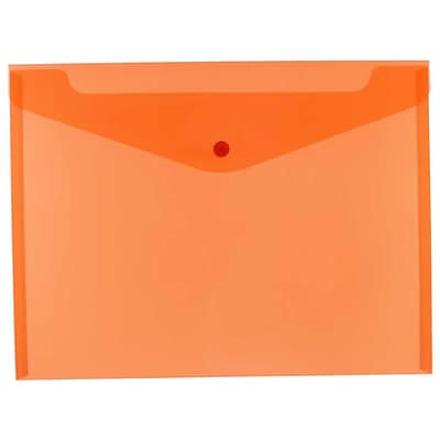 JAM Paper® Plastic Envelopes with Snap Closure, Letter Booklet, 9.75 x 13, Orange Poly, 12/pack (218S0OR)