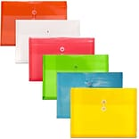 JAM Paper® Plastic Envelopes, Button and String Tie Closure, Legal Booklet, 9.75x14.5, Assorted Colo