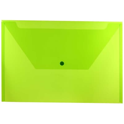 JAM Paper® Plastic Envelopes with Snap Closure, Legal Booklet, 9.75 x 14.5, Lime Green Poly, 12/pack (219S0LI)