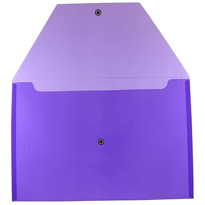 JAM Paper® Plastic Envelopes with Snap Closure, Legal Booklet, 9.75 x 14.5, Purple Poly, 12/pack (219S0PU)