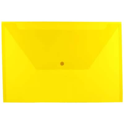 JAM Paper® Plastic Envelopes with Snap Closure, Legal Booklet, 9.75 x 14.5, Yellow Poly, 12/pack (219S0YE)